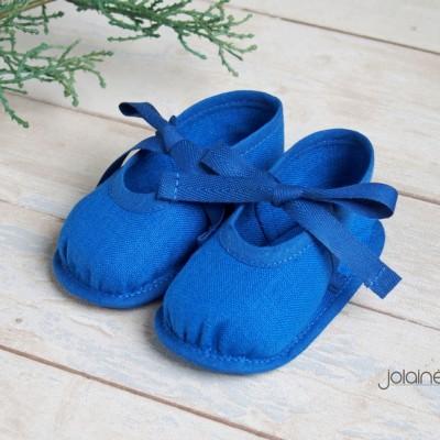 Lininiai mėlyni batukai berniukui